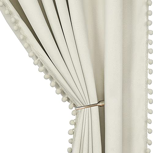 Pom Pom Blackout Curtains for Bedroom 84 Inch 2 Panels Ivory Curtains Thermal Insulated Room Darkening Curtain Panels Rod/Pole Pocket Window Drapes for Living Room Nursery (52 x 84 Inch, Ivory)