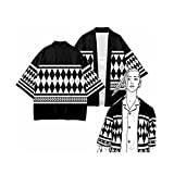 Yokbeer Tokyo Revengers Disfraz de Cosplay Ken Ryuguji Cape Kimono Cardigan Robe Coat Coat Ropa Halloween Carnaval Traje Anime Black Cool Coat (Color : B, Size : M)
