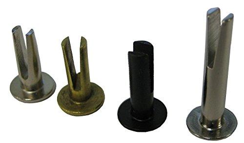 Split Rivet - 9/64' Diameter X 3/8' Length, 5/16' Head Diameter, Steel, Oval Head with A Brass Finish. (Pack of 100).
