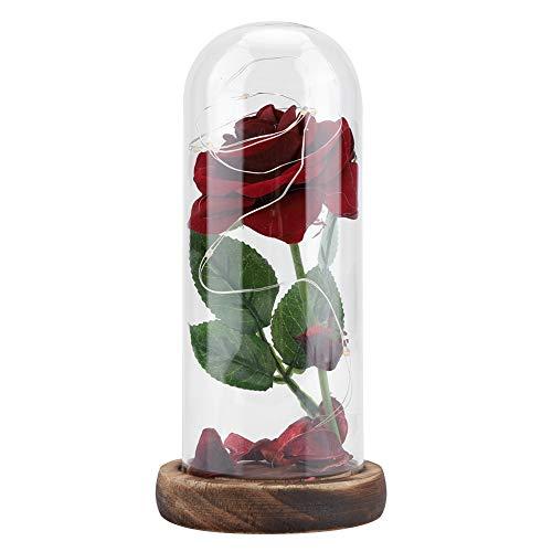 Fdit Luz LED con diseño de Rosa conservada con Cubierta de Cristal y Base de Madera para Regalo de San Valentín