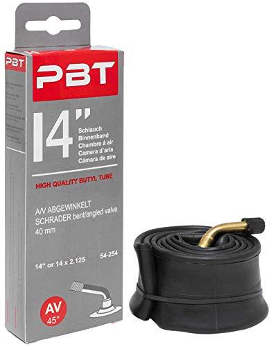 """Chambre à air PBT 14 pouces à valve coudée pour poussette trottinette draisienne vélo enfant - chambre à air 14"""" ou 14 x 2.125 - Édition 2019"""