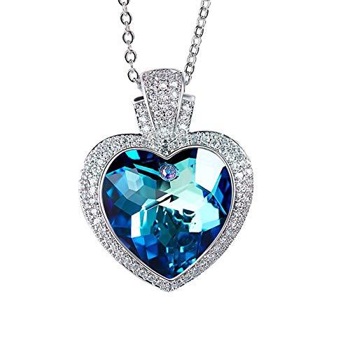 MINCHEDA Collares Mujer S925 con Cristal de Corazón del Océano, Regalo para Mujer San Valentín Aniversario Cumpleaños Navidad