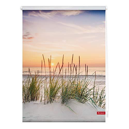 Lichtblick KRT.080.150.377 Rollo Klemmfix, ohne Bohren, Blickdicht, Nordseestrand - Rot Weiß 80 x 150 cm (B x L)