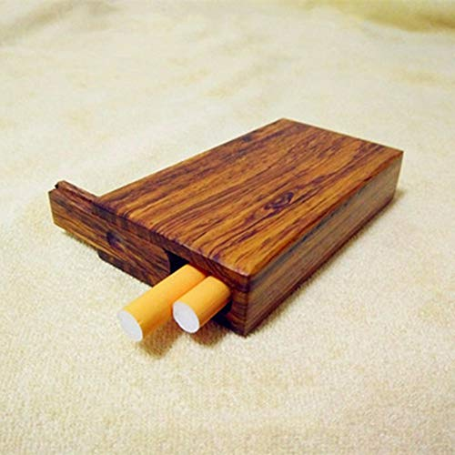 NACHEN Hölzerne Zigarettenetui Mini Retro tragbare Zigarettenschachtel 5 Sticks Zigaretten Holz