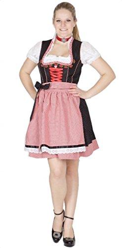 Country Line 11953 - Vestido de tirolesa (50 unidades), color negro y rojo Negro 36
