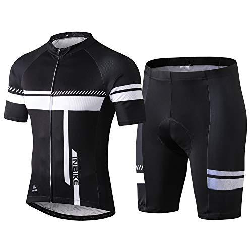 INBIKE Fahrradtrikot Herren Kurzarm Damen Fahrradbekleidung Männer Set Kurz Fahrrad Trikot und Radlerhose mit Sitzpolster(Schwarz, L)