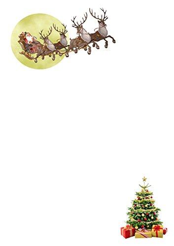 25 A5 Père Noël traîneau 2017 conçu pour écriture Petits Établissements papier – Père Noël Lettres, notes de remerciement, invitations