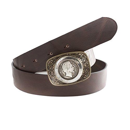 Almbock Trachtengürtel König Ludwig altmessing-silber - aus Vollrindsleder in dunkel-braun, für Männer, zur Jeans oder Lederhose