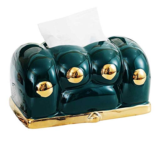 XZJJZ Caja de cerámica Creativa Pata Caja de Tejido casera Sala de Estar de Color Verde Oscuro Gold-Chapado Lindo cajón Artes Caja de Cocina para decoración