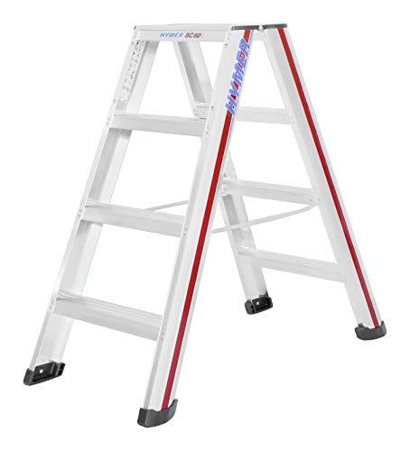 Hymer 602408 Stufenstehleiter 2x4 Stufen (beidseitig begehbar, Spreizsicherung, große Leiterschuhe, Standhöhe ca. 0,44 m)