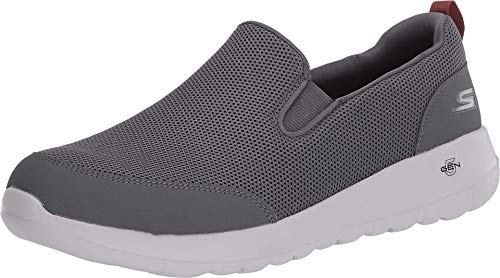 Skechers mens Go Max Clinched - Athletic Mesh Double Gore Slip on Walking Shoe, Grey/Burgundy, 11.5 US