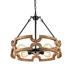 Bribyit Farmhouse Wood Drum Chandeliers for Dining Rooms Hand-Painted Antique Finish, Antique Wood and Metal Chandelier Ceiling Pendant Light 4 Candle Holder Lights