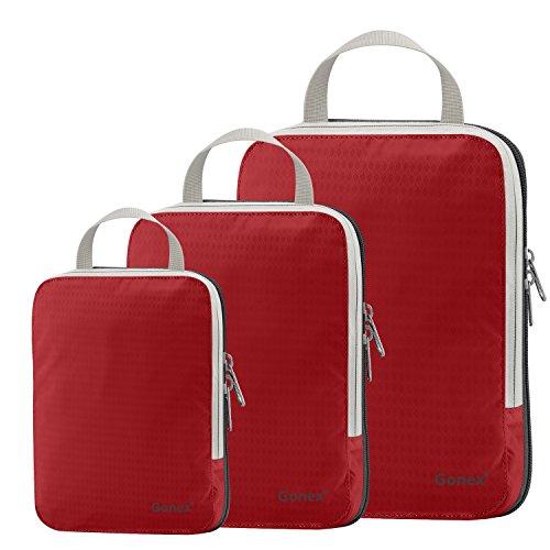 Compression Packing Cubes 3/4er Set, Gonex Kleidertaschen 4-teilig Verpackungswürfel, Kleidertaschen Set, Kofferorganizer Reise Würfel, Rot(3er), groß