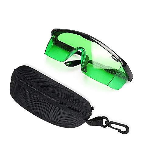 Gafas de mejora láser verdes - Gafas de seguridad Huepar GL01G con protección ocular ajustable para alineación verde, líneas cruzadas y múltiples y láseres rotativos con función anti pérdida y estuche protector duro gratis