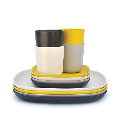 EKOBO Gusto Lunch-Set, 12-teilig, aus Bambus / Melamin, FSC-zertifiziert, BPA-frei, spülmaschinengeeignet