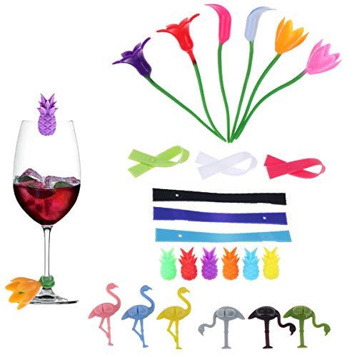 Wetrys 24 Stück Getränke-Marker für Gläser, Weingläser, Flaschen-Streifen, Marker, Cocktail-Identifizierung, Party-Lösung für Gäste, zufällige Farbe