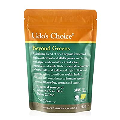 Udo's Choice Beyond Greens, Vegan Super Greens Powder with Barley, Oats and Wheat, Rich in Antioxidants, Use in Smoothies or Baked Goods, 255g