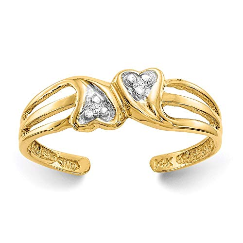 14k Yellow Gold Double Heart .02ct Diamond Adjustable Cute Toe Ring Set S/love Fine Jewelry For Women Gifts For Her 14k Love Toe Ring