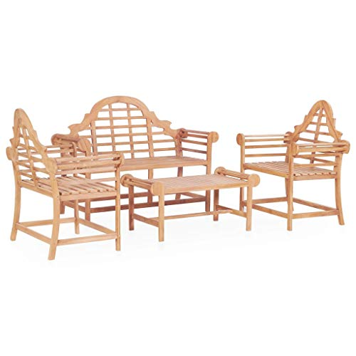 Festnight Garten-Sofagarnitur 4-TLG. | Holz Gartensofa-Set | Terrasse Gartenmöbel | Balkon Gartengarnitur Gartenset | Sitzgruppe Essgruppe Set | Massiv Teakholz