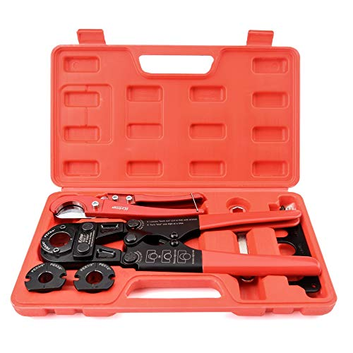 IWISS Pex Pipe Crimping Tool kit for 3/8,1/2,3/4,1-inch Copper Ring with Free Gauge&Pex Pipe Cutter -Meet...