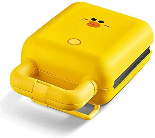 Wafflera 600W sandwichera fabricante de pan 2-en-1 Sandwich Tostadora, Wafflera con las placas no se pegue, fresca Mango de tacto, fácil de limpiar, Amarillo BTZHY (Color : Yellow)