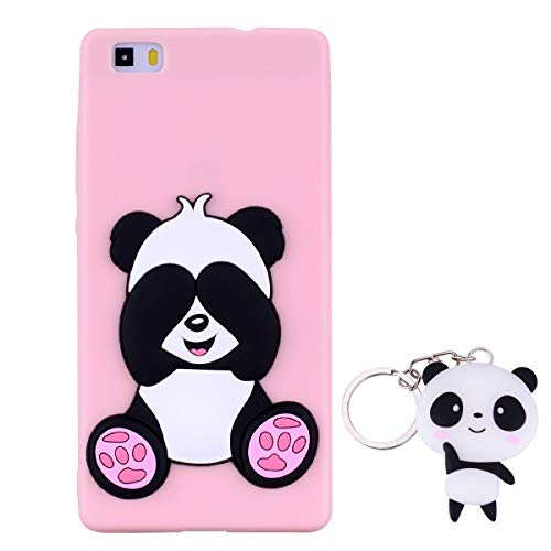 HopMore Panda Funda para Huawei P8 Lite 2016 Silicona con Diseño 3D Divertidas Carcasa TPU Ultrafina Case Antigolpes Caso Protección Cover Dibujos Animados Gracioso con Llavero - Rosado