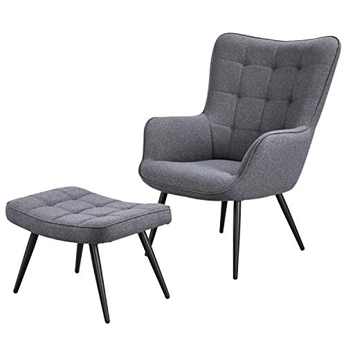 YAHEETECH Lounge Chair & Ottoman Modern Chaise Lounge Armchair with Footstool Lounge Reading Chair with Footrest Linen Grey