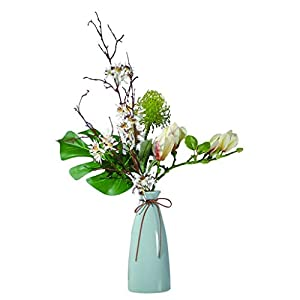HTL Beautiful Artificial Flowers Magnolia Flower Artificial Flower is Used in Living Room Hotel Office to Place Silk Flower Fake Flower Bonsai Simple Retro Style Fake Plants Decor