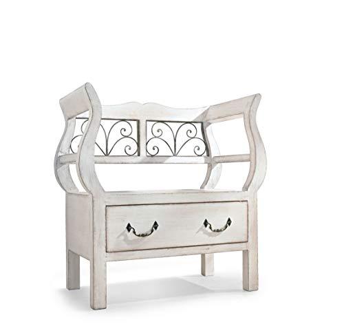 Pureday miaVILLA Sitzbank Janne - Landhausstil - Holz - Antik Weiß - ca. 40 x 73 x 75 cm
