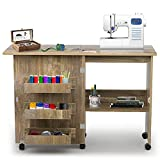 Folding Sewing Table, Sewing Machine Table with Storage, Sewing Cabinet with Adjustable Shelf Hidden Bins Lockable Casters, Open/Fold (Brown)