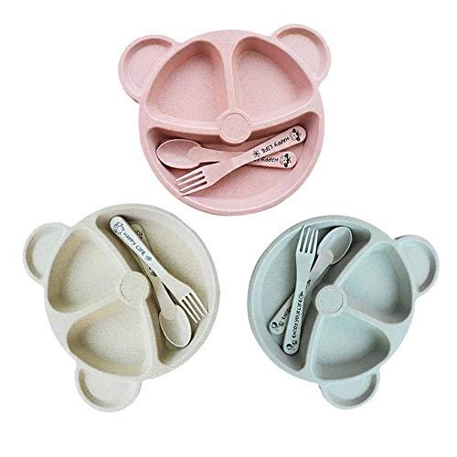 Sue-Supply Juego de Platos de vajilla para niños Plato de Fibra de bambú Forma de Oso Plato para niños Cuchara Tenedor Cuchara Taza Juego de vajilla para niños