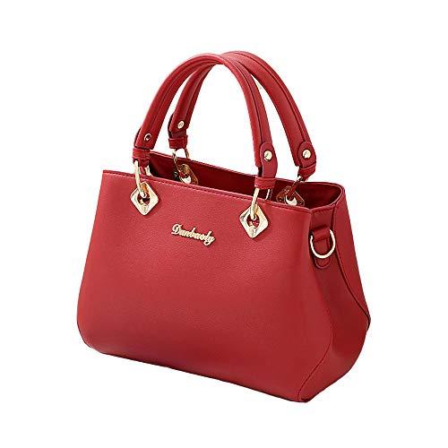 Tisdaini Bolsos de mano Mujer Bolsos bandolera Moda Bolsos totes Shoppers y bolsos de hombro ES914 Rosa Roja