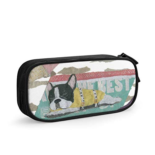 Multi Pen Bag Pencil Case Cosmetic Pouch Makeup Bag Zipper Stationery Bag Storage Box for School Supplies & Office Women Girl,French Bulldog Black And White Pied Frenchie