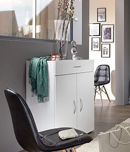 lifestyle4living Kommode in weiß mit praktischem Stauraum, Anrichte mit 1 Schublade, 2 Türen und 2 verstellbaren Böden, Moderne Mehrzweckkommode 80 cm breit