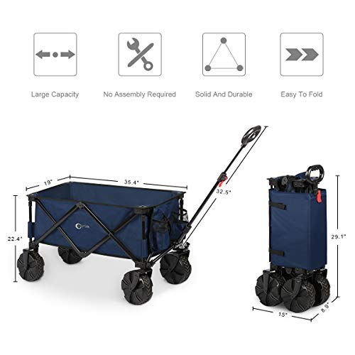 Portal Collapsible Folding Utility Wagon Cart with 8 inches Wheels Telescoping Handle for Outdoor Garden and Beach Use,Blue