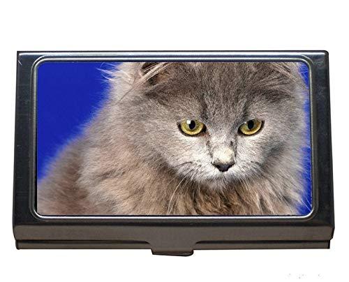Visitenkartenhalter aus Edelstahl, Kätzchen Tierkatze Visitenkartenetui für Herren und Damen