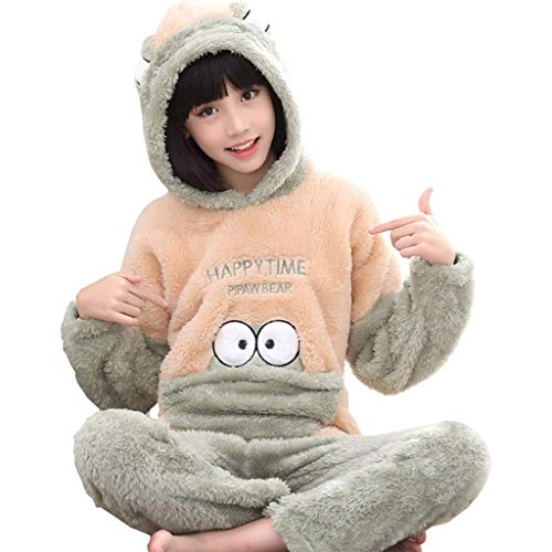 NOSSON Kinderpyjamas Flanell Langarm-Pyjamas Mit Kapuze Kinder Freizeitkleidung...