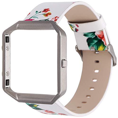 LUONE Ersatzarmband, druckte Hirtenart-UhrWristband Kompatibel mit Fitbit Blaze Uhrenarmband Smart Watch Kleine Blumen Sport Uhrenarmbänder,D