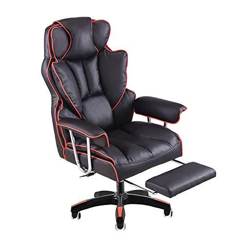 KOKOF Sedie da gioco, sedie da ufficio con braccioli,Computer Sedia Casa Ufficio Sedia Boss Sedia di Sollevamento Girevole Sedia sdraiata Poggiapiedi Pranzo Pausa Gaming Poltrona-rosso-B-poggiapiedi