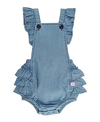 RuffleButts Baby/Toddler Girls Light Wash Denim Flutter Overall Romper - 0-3m