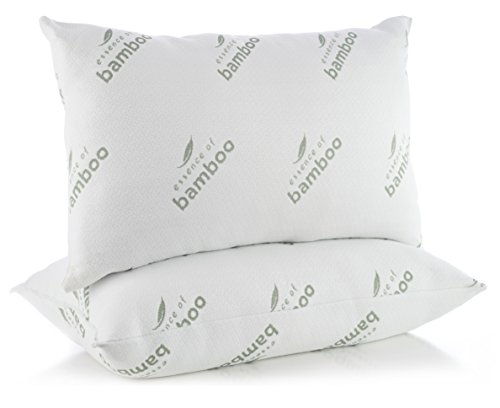 Pillows for Sleeping in Super Plush Comfort - Essence of Bamboo Derived Rayon Premium Edition Hypoallergenic Down Alternative Fiber Pillow - Crafted in USA (Queen 2-Pack) Best Sleep Ever