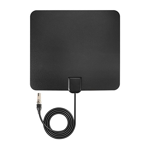 TV Antenna XCSOURCE 50 Miles Range Amplified Detachable HDTV Digital television Flat Signal amplifier/Booster for Freeview Local Channels with 13.13ft Coax Cable. Black