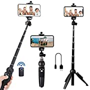 #LightningDeal Portable 40 Inch Aluminum Alloy Selfie Stick Phone Tripod with Wireless Remote Shutter Compatible with iPhone 12 11 pro Xs Max Xr X 8 7 6 Plus, Android Samsung Smartphone