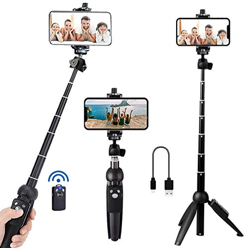 Portable 40 Inch Aluminum Alloy Selfie Stick Phone Tripod with Wireless Remote Shutter Compatible with iPhone 12 11 pro Xs Max Xr X 8 7 6 Plus,...