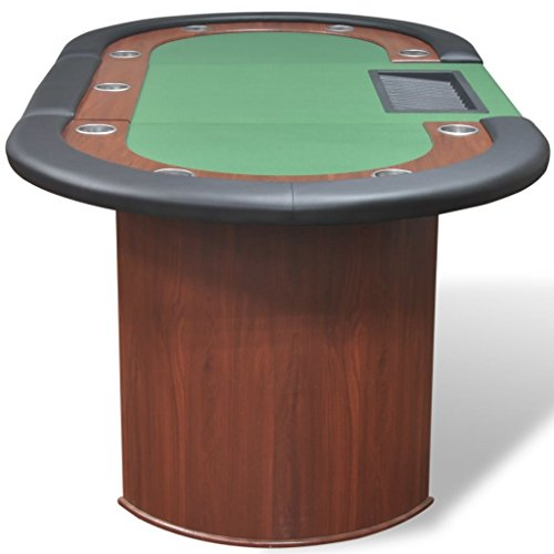 vidaXL Pokertisch für 10 Spieler mit Dealerbereich und Chipablage Grün - 5