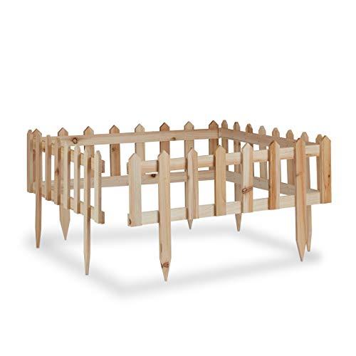 Relaxdays Steckzaun Holz 4er-Set, Gartendeko, niedrige Beeteinfassung & Zierzaun, Erdspieß, erweiterbar, 240x32cm, natur