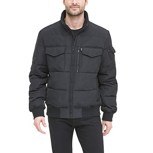 DKNY Men's Quilted Performance Bomber Jacket, black, Small