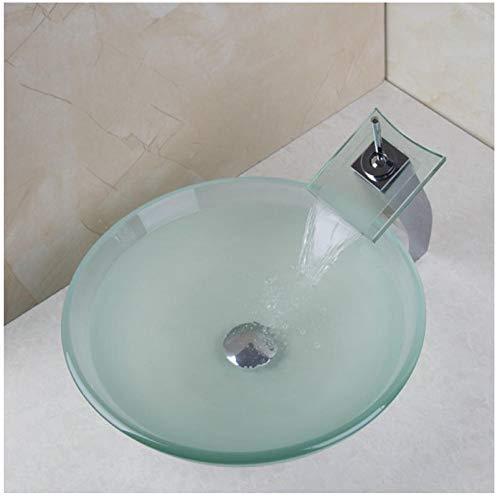 Zybnb New Frosted Victory Glasschale, Waschbecken, Wash Square Chrom Wasserfall Wasserhahn Mit Runden Gehärtetem Glas Waschbecken Set