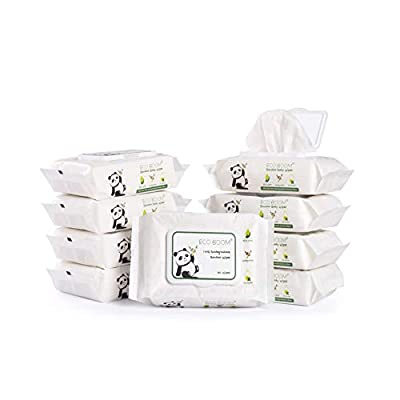 ECO BOOM Bamboo Wipes Biodegradable, Eco Friendly 100% Baby Wet Wipes Ideal for Sensitive and Newborn Skin 540 Count Unscented
