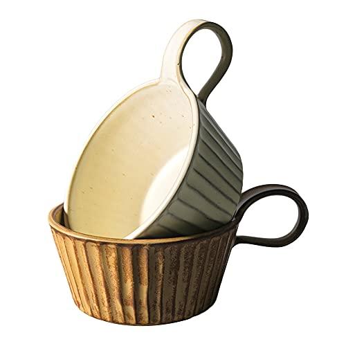 AWYGHJ Taza de café de Porcelana con asa, Conjunto de 2, 12 onzas de cerámica Taza de café, microondas y lavavajillas Caja Fuerte, Conjunto de Taza Grande, para café, Sopa, té, Cereal